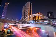 Bangkok, Thailand, Cityscape, Chong Nonsi, BTS Skytrain, Night photography, city lights, traffic