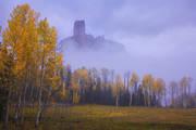 chimney rock, aspens, Colorado, fall, autumn, fog, San Juan, mountains, Ouray, Telluride, orange, purple