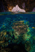 el nido, palawan, philippines, over under, split level, underwater, beach, cadlao, tropical, coral, island