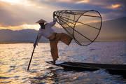 inle lake, burma, fisherman, traditional, culture, basket, sunset, light beams, myanmar
