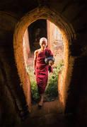 monk, bagan, burma, alms, door, window, barefoot, step, buddhism, myanmar