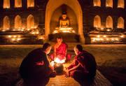 monks, Bagan, Burma, candles, temple, thadingyut, festival, elder, novice, reading, buddhist lent, myanmar