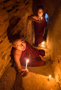 monks, candles, temple, bagan, burma, myanmar, festival, buddhism