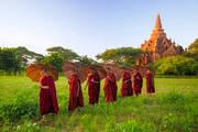 monks, line, umbrellas, bagan, burma, myanmar, sunset, temple