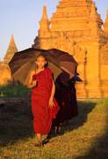 monks, parasols, umbrellas, temples, bagan, burma, myanmar, walking, sunset, culture