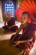 monks, umbrellas, window, temple, burma, bagan, myanmar