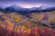 Sneffels, Fall, Colorado, Aspens, Ridgway, San Juan, Mountains, sunset, snow