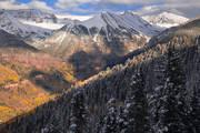 Telluride, Autumn, Fall, snow, Ajax, san juan, mountains, Colorado, aspens, sunset
