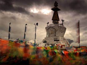meili snow mountain sunrise,deqin,blowing prayer flags,chorten,kora,Feilaisi,Feilai Temple
