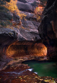 subway, slot canyon, zion, utah, pool, glow