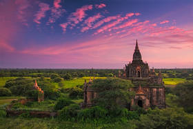 bagan, burma, temple, sunset, myanmar, pastel, pink, buddhist, ancient