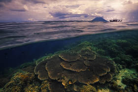 Bunaken, underwater, diving, snorkeling, reef, over under, split view, sunset, underwater photography, boat, island, Man