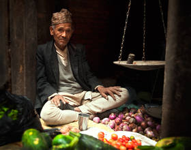 kathmandu, streets, balance, scale, culture, vendor, life on the street, alley, nepal, fruit, vegetables, food vendor, s
