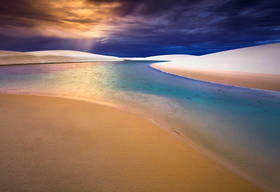 lencois maranhenses, brazil beach, sand dunes, sunset, lake, beach, brasil