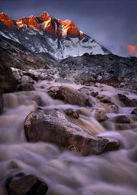 lhotse photo,lhotse picture,everest trek picture, everest trek photo,himalaya sunset,nepal waterfall