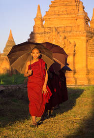 monks, parasols, umbrellas, temples, bagan, burma, myanmar, walking, sunset, culture