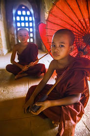 monks, umbrellas, window, temple, burma, bagan, myanmar