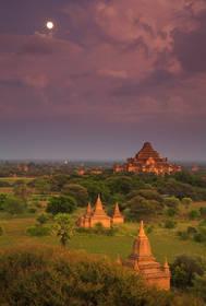 Moonrise over Bagan, Burma.