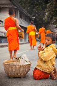 morning alms, luang prabang, laos, culture, buddhism, monks, street