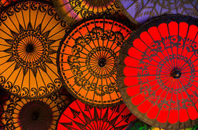 parasols, umbrellas, burma, myanmar, culture, color