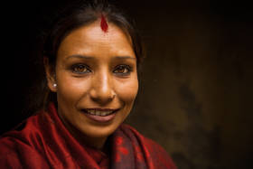 patan, portrait, woman, red scarf, eyes, kathmandu, nepal, culture