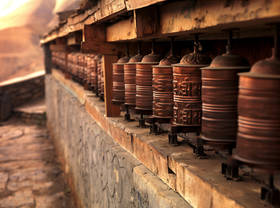 spinning prayer wheels,mustang monastery,annapurna trek pictures,kagbeni pictures,nepal culture pics