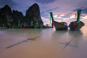 krabi, railay beach, longtail boat, sunset, beach, thailand, paradise, anchor, paradise