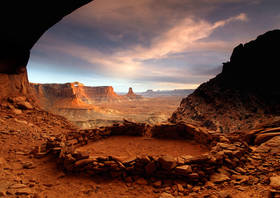 kiva,anasazi,ruins,canyonlands,false kiva,sunset,canyon,cliff