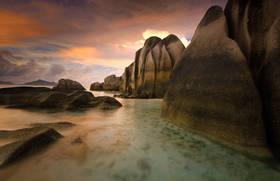 seychelles,anse sourced'argent,beach,la digue,sunset,boulders,paradise,island