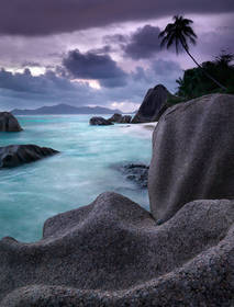 seychelles picture,la digue island,boulders,sunset,anse source d'argent beach