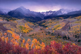 Sneffels, Fall, Colorado, Aspens, Ridgway, San Juan, Mountains, sunset, snow