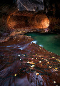 subway, slot canyon, passage, zion, pool