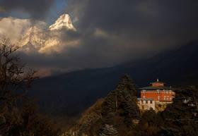 tengboche,monastery,everest trek,ama dablam,nepal,himalaya,trekking,sunset,shangri la
