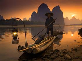 li river, china, guilin, xingping, lantern, cormorant, fisherman, fishermen, sunset, bamboo, raft