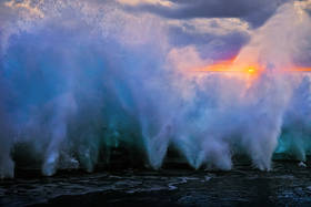 blowholes, blow, holes, tonga, mapua, vaca, sunset, waves, south pacific, tongetapu, island