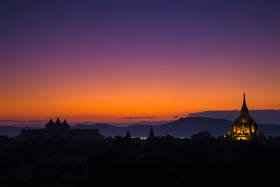 bagan, temples, sunset, twilight, lights, burma, myanmar, buddhism, Mt Popa