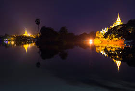 Yangon,Shwedagon Pagoda, Kandawgyi lake, night,reflection,Burma