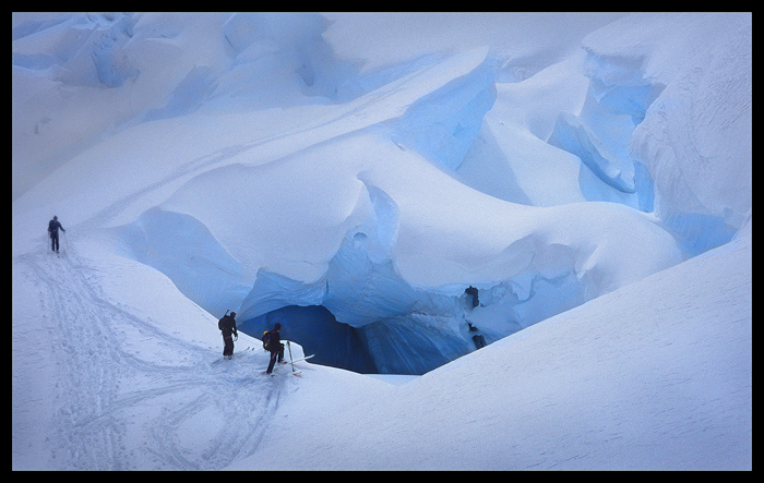 crevasse skiing,ice,glacier skiing,adamant range,icefield,ice,skiers,fairy meadows, photo