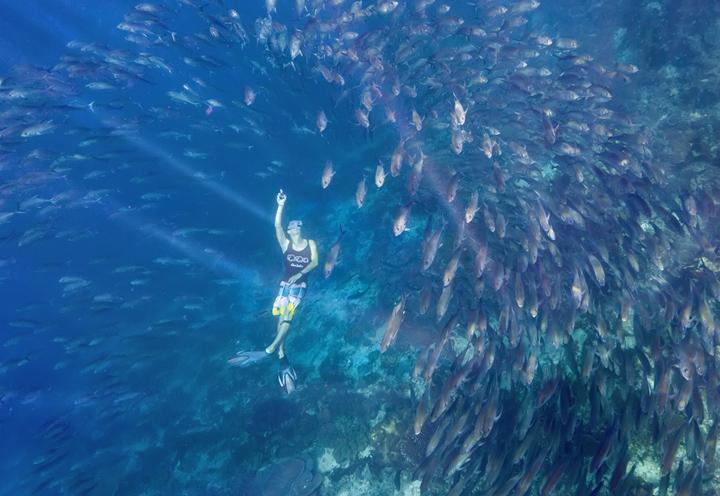 My friendAndreas Kotzke swimming through a huge fish ball off the coast of Kri Island in Raja Ampat, Indonesia.