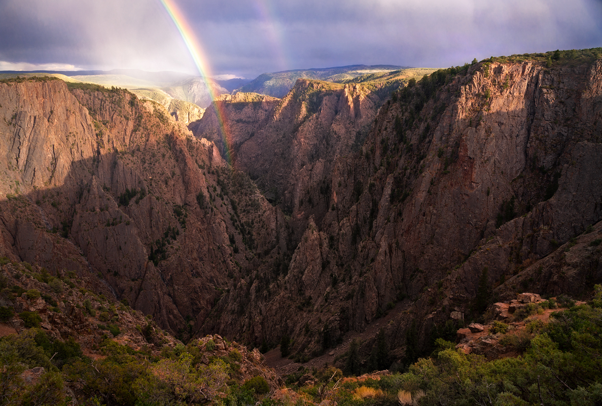 Black Canyon Gunnison, Double, Rainbow, Sunset, Colorado, National Park, Gorge, Desert, Rain, Storm, Monsoon, Horizontal, photo