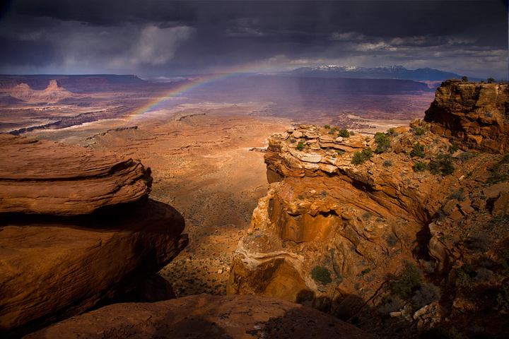 Canyonlands, canyon lands, rainbow, storm, thunderstorm, Utah, rain, gooseberry trail, photo