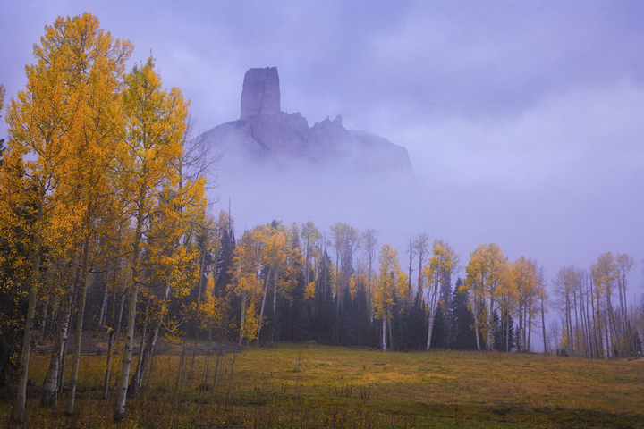 chimney rock, aspens, Colorado, fall, autumn, fog, San Juan, mountains, Ouray, Telluride, orange, purple , photo