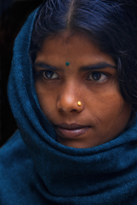 portrait, woman, kathmandu, nepal, veil, blue, eyes, face, people, culture, durbar square, nepali, photo