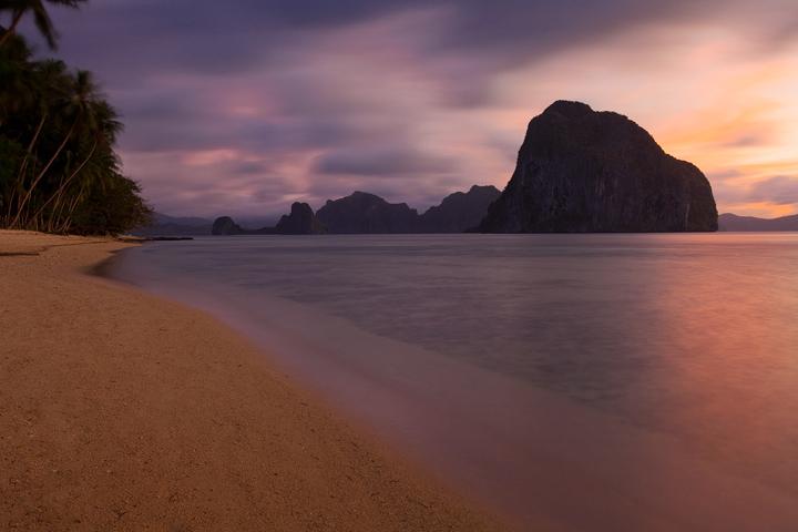 el nido, palawan, sunset, beach, las cabanas beach, philippines, photo