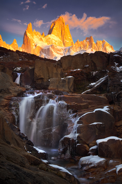 Fitzroy, patagonia, sunrise, waterfall, alpenglow, vertical, los glaciares, el chalten, autumn, otono, photo