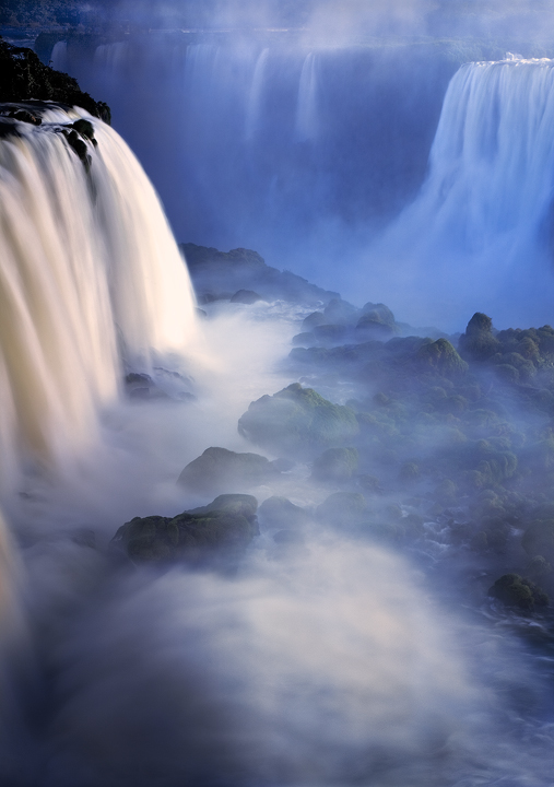 iguazu falls, iguacu, cataratas, rainforest, waterfall, mist, blue, vertical, brazil, argentina, photo