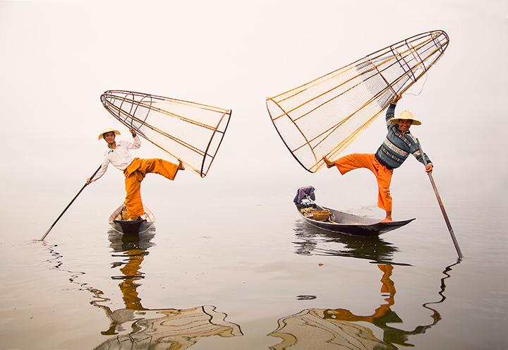 Inle Lake, fishermen, fog, balancing, baskets, Burma, Myanmar, photo
