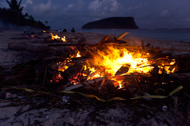 Paradise Lost. What was left of the Taufua Beach Fales was collected into piles and burned on the beach. There is no heavy equipment...