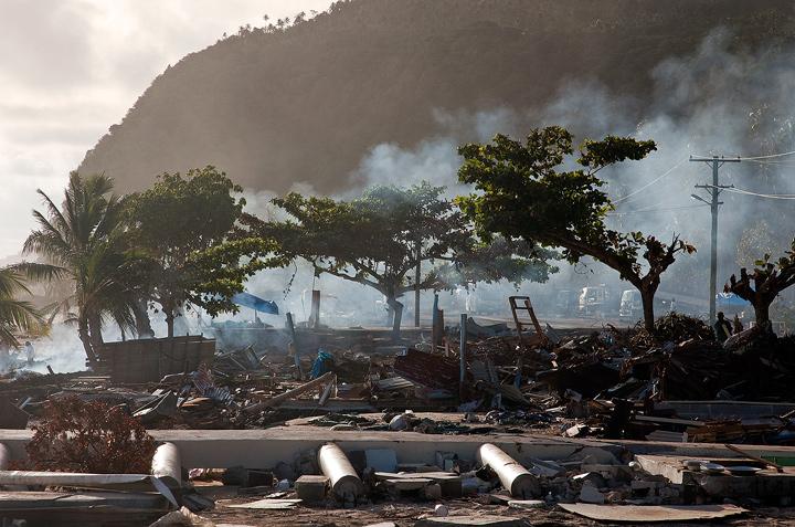 Samoa Tsunami, Litia sini beach fales, photos, pictures, photo