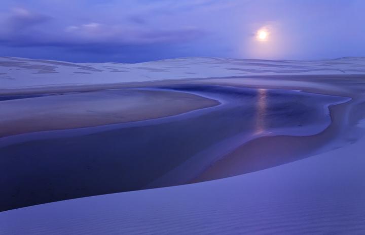 lencois maranhenses, full moon, sunrise, lake, sand dunes, blue, brazil, other world, surreal, photo